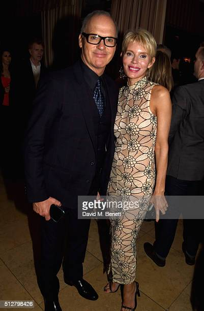 Actors Michael Keaton and Marni Turner attend the Michael Sugar PreOscar Party hosted by GREY GOOSE Vodka at Sunset Tower on February 28 2016 in West...