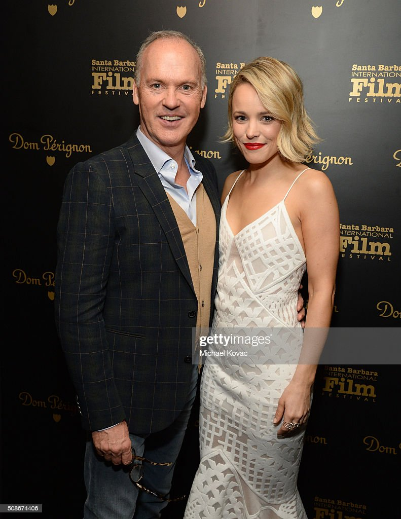Actors Michael Keaton (L) and Rachel McAdams visit the Dom Perignon Lounge before receiving the American Riviera Award at The Santa Barbara International Film Festival on February 5, 2016 in Santa Barbara, California.