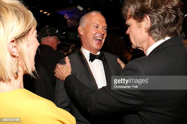 Actors Michael Keaton and William H. Macy attend TNT's 21st Annual Screen Actors Guild Awards at The Shrine Auditorium on January 25, 2015 in Los...