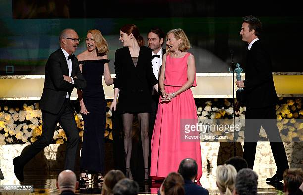 Actors Michael Keaton, Naomi Watts, Emma Stone, Zach Galifianakis, Amy Ryan, and Edward Norton accept the award for Outstanding Performance by a Cast...