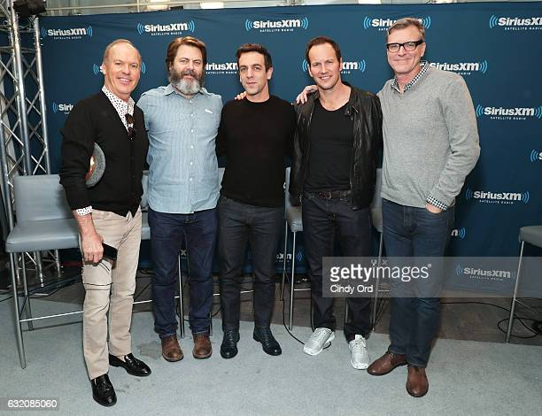 Actors Michael Keaton Nick Offerman BJ Novak Patrick Wilson and Director John Lee Hancock take part in SiriusXM's Town Hall with the cast of 'The...