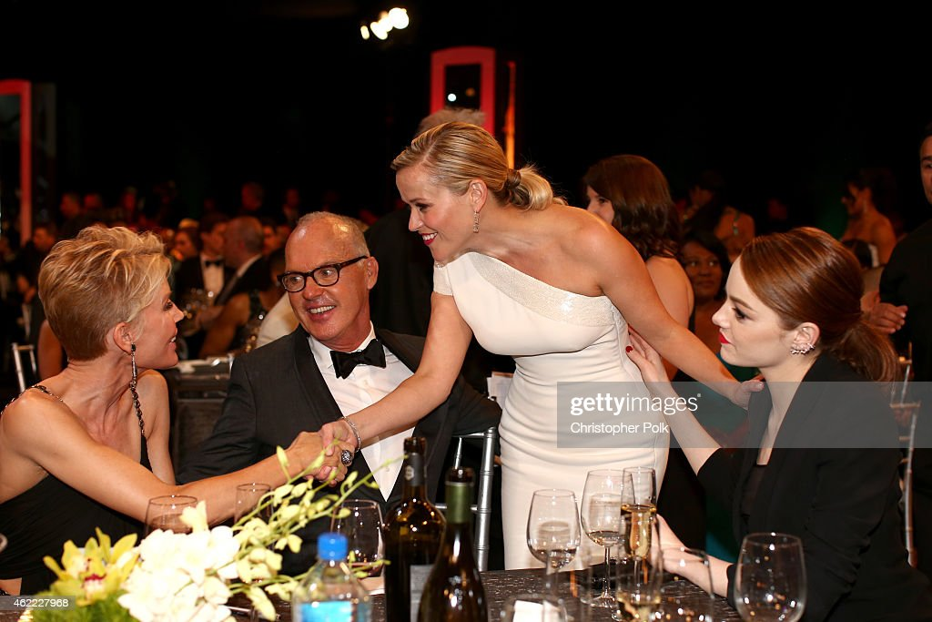Actors Michael Keaton, Reese Witherspoon, and Emma Stone attend TNT's 21st Annual Screen Actors Guild Awards at The Shrine Auditorium on January 25, 2015 in Los Angeles, California. 25184_013
