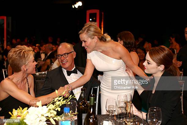 Actors Michael Keaton Reese Witherspoon and Emma Stone attend TNT's 21st Annual Screen Actors Guild Awards at The Shrine Auditorium on January 25...