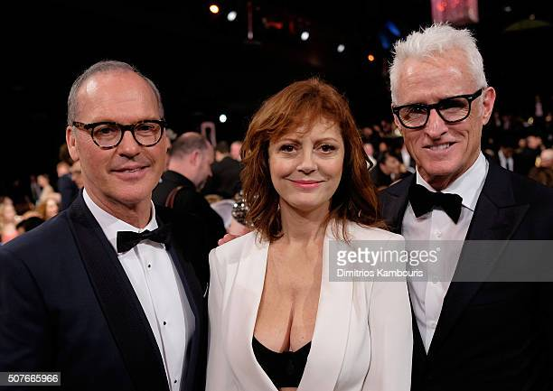 Actors Michael Keaton Susan Sarandon and John Slattery pose during The 22nd Annual Screen Actors Guild Awards at The Shrine Auditorium on January 30...