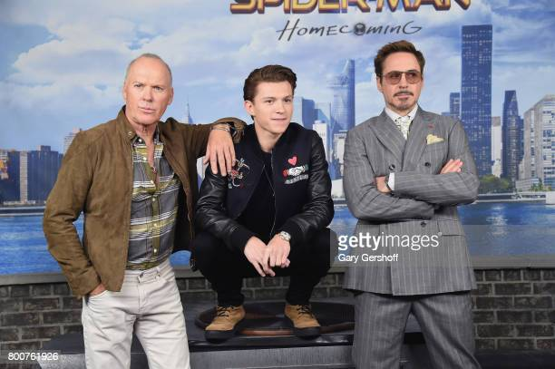 Actors Michael Keaton Tom Holland and Robert Downey Jr attend the Spiderman Homecoming New York photo call at the Whitby Hotel on June 25 2017 in New...
