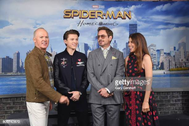 Actors Michael Keaton Tom Holland Robert Downey Jr and Marisa Tomei attend the 'Spiderman Homecoming' New York photo call at the Whitby Hotel on June...