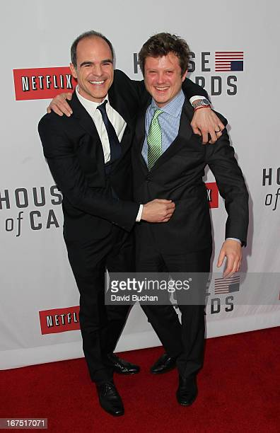 Actors Michael Kelly and Beau Willimon attend Netflix's House Of Cards For Your Consideration QA Event at Leonard H Goldenson Theatre on April 25...
