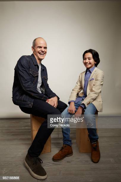 Actors Michael Kelly and Jesse Ray Sheps from the film 'All Square' poses for a portrait in the Getty Images Portrait Studio Powered by Pizza Hut at...