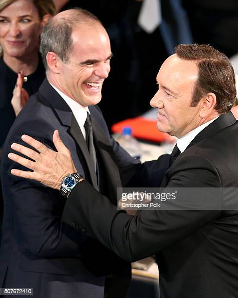 Actors Michael Kelly and Kevin Spacey attend The 22nd Annual Screen Actors Guild Awards at The Shrine Auditorium on January 30 2016 in Los Angeles...