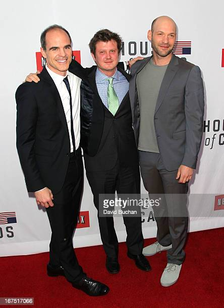 Actors Michael Kelly Beau Willimon and Corey Stoll attend Netflix's House Of Cards For Your Consideration QA Event at Leonard H Goldenson Theatre on...