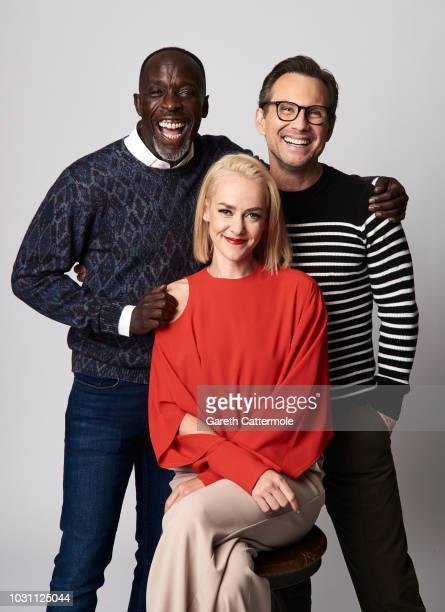 Actors Michael Kenneth Williams Jena Malone and Christian Slater from the film 'The Public' pose for a portrait during the 2018 Toronto International...