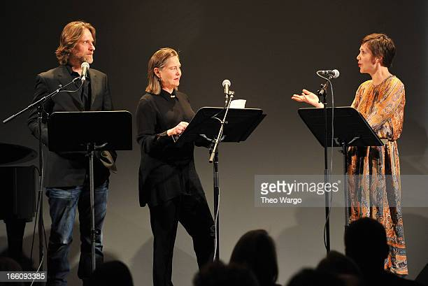 Actors Michael Laurence Cherry Jones and Maggie Gyllenhaal perform onstage at the Celebrate Sundance Institute benefit for its Theatre Program...