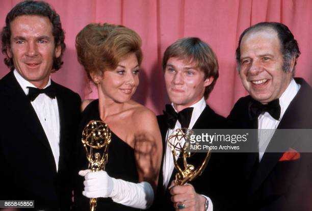 Actors Michael Learned and Richard Thomas holding their Emmy Awards in the press room at The 25th Primetime Emmy Awards on May 20 1973 at Shubert...