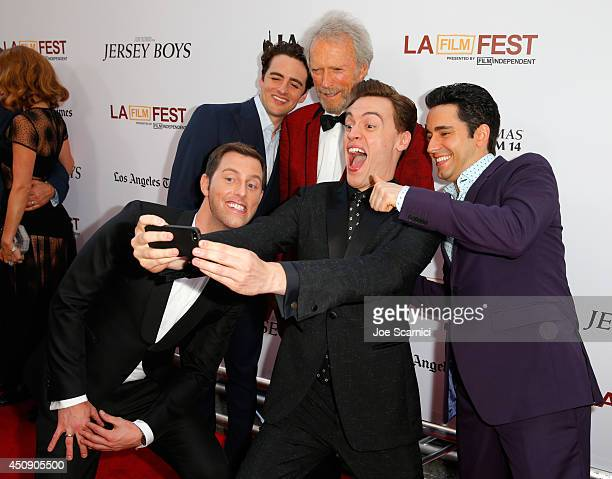 Actors Michael Lomenda Vincent Piazza producer/director Clint Eastwood and actors Erich Bergen and John Lloyd Young take a selfie during the closing...