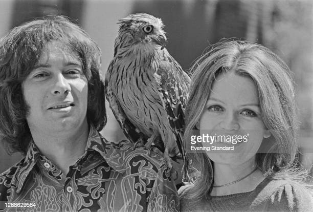 Actors Michael MacKenzie and Judy Loe, stars of the British television series 'Ace of Wands', with an avian co-star, UK, 1971. MacKenzie plays...