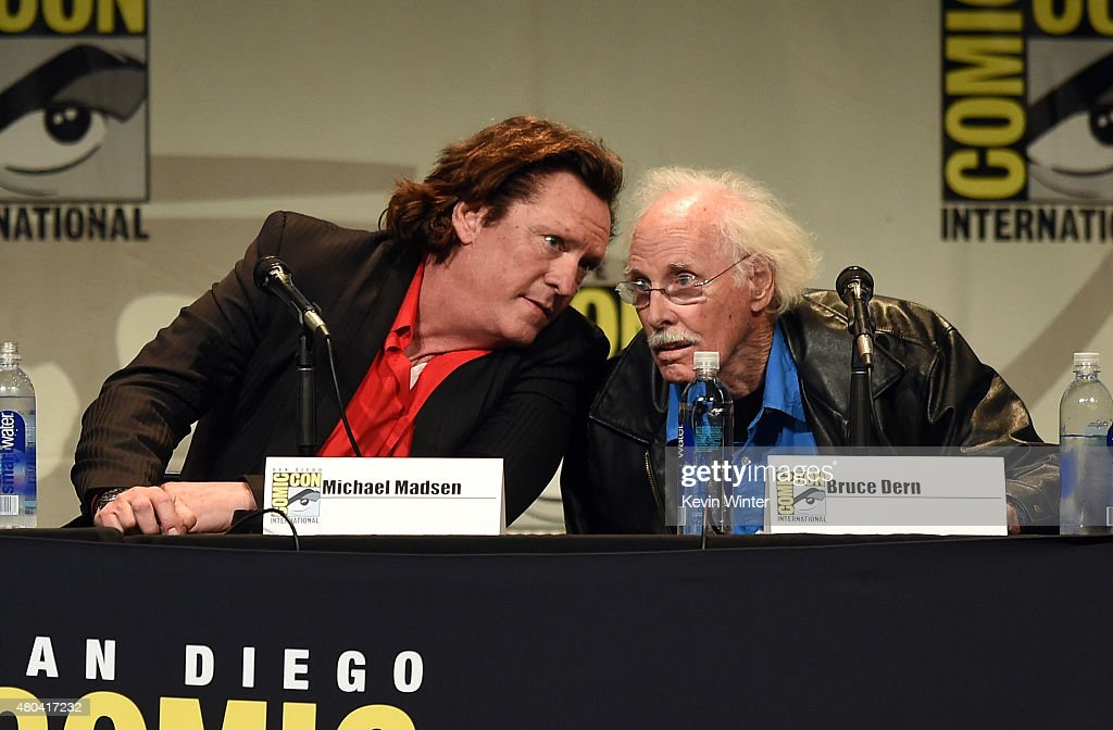 Actors Michael Madsen (L) and Bruce Dern speak onstage at Quentin Tarantino's 'The Hateful Eight' panel during Comic-Con International 2015 at the San Diego Convention Center on July 11, 2015 in San Diego, California.