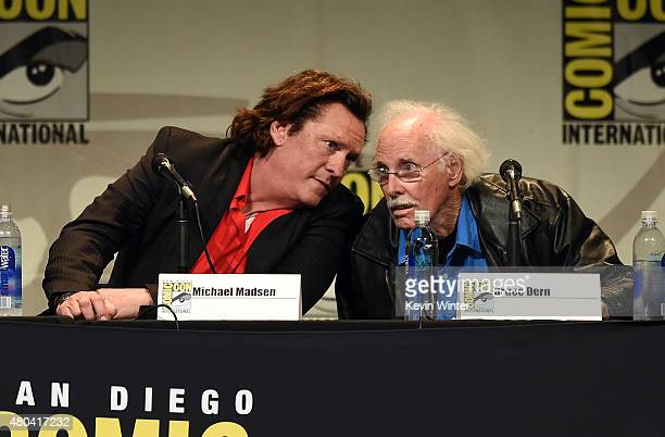 Actors Michael Madsen and Bruce Dern speak onstage at Quentin Tarantino's The Hateful Eight panel during ComicCon International 2015 at the San Diego...