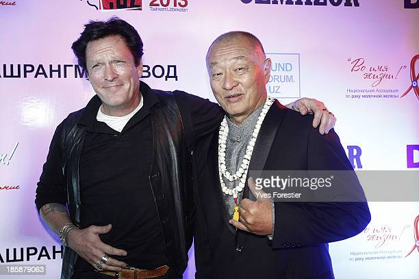 Actors Michael Madsen and Cary Tagawa attend a benefit gala dinner in support of women diagnosed with breast cancer feat at Olmazor Restaurant during...