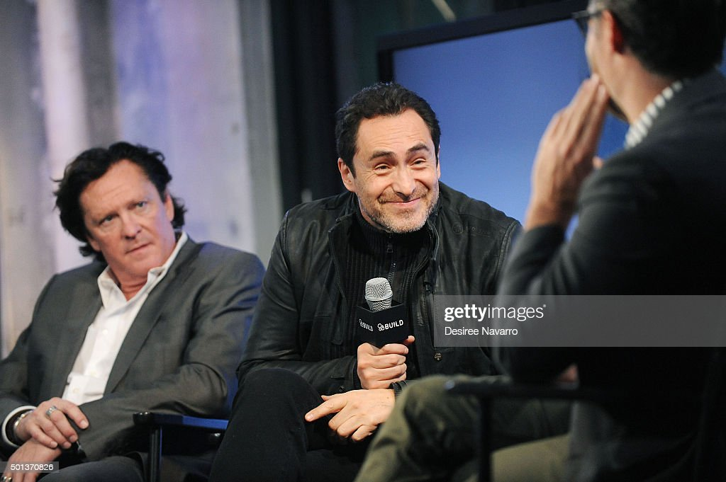 Actors Michael Madsen (L) and Demian Bichir attend AOL BUILD Series: Kurt Russell, Walton Goggins, Tim Roth, And Demian Bichir 'The Hateful Eight' at AOL Studios In New York on December 14, 2015 in New York City.