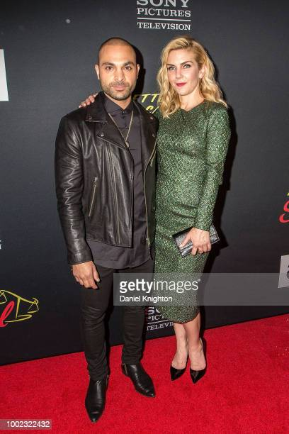 Actors Michael Mando and Rhea Seehorn attend AMC's 'Better Call Saul' Season 4 Premiere at UA Horton Plaza 8 on July 19 2018 in San Diego California