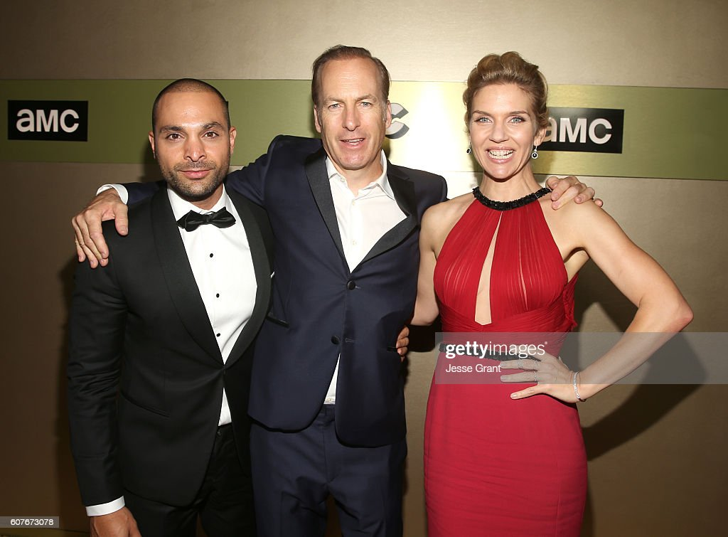 Actors Michael Mando, Bob Odenkirk, and actress Rhea Seehorn attend AMC Networks Emmy Party at BOA Steakhouse on September 18, 2016 in West Hollywood, California.