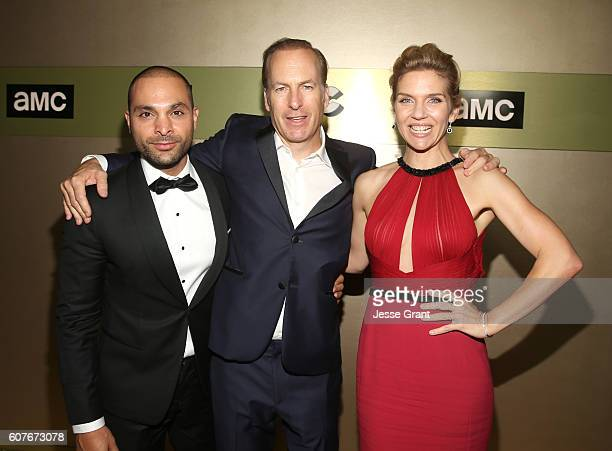 Actors Michael Mando Bob Odenkirk and actress Rhea Seehorn attend AMC Networks Emmy Party at BOA Steakhouse on September 18 2016 in West Hollywood...