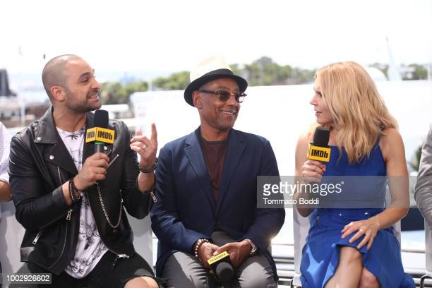 Actors Michael Mando Giancarlo Esposito and Rhea Seehorn attend the #IMDboat At San Diego ComicCon 2018 Day Two at The IMDb Yacht on July 20 2018 in...