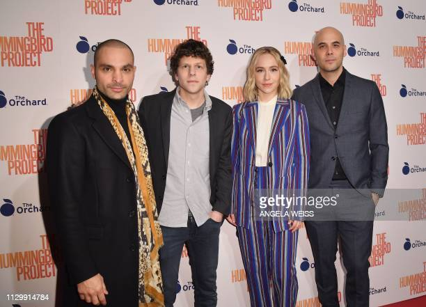 Actors Michael Mando Jesse Eisenberg Sarah Goldberg and director Kim Nguyen attend the 'The Hummingbird Project' New York screening at Metrograph on...