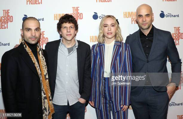 Actors Michael Mando Jesse Eisenberg Sarah Goldberg and director Kim Nguyen attend the The Hummingbird Project New York screening at Metrograph on...
