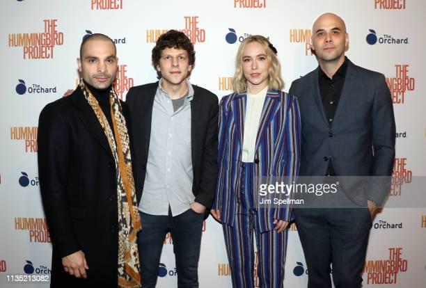 "Actors Michael Mando, Jesse Eisenberg, Sarah Goldberg and director Kim Nguyen attend the ""The Hummingbird Project"" New York screening at Metrograph..."