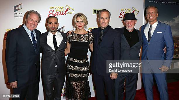 Actors Michael McKean Michael Mando Rhea Seehorn Bob Odenkirk Jonathan Banks and Patrick Fabian attend the series premiere of AMC's 'Better Call...