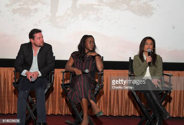 Actors Michael Mosley and ClareHope Ashitey and creator and executive producer Veena Sud attend the Netflix and Color of Change special screening and...