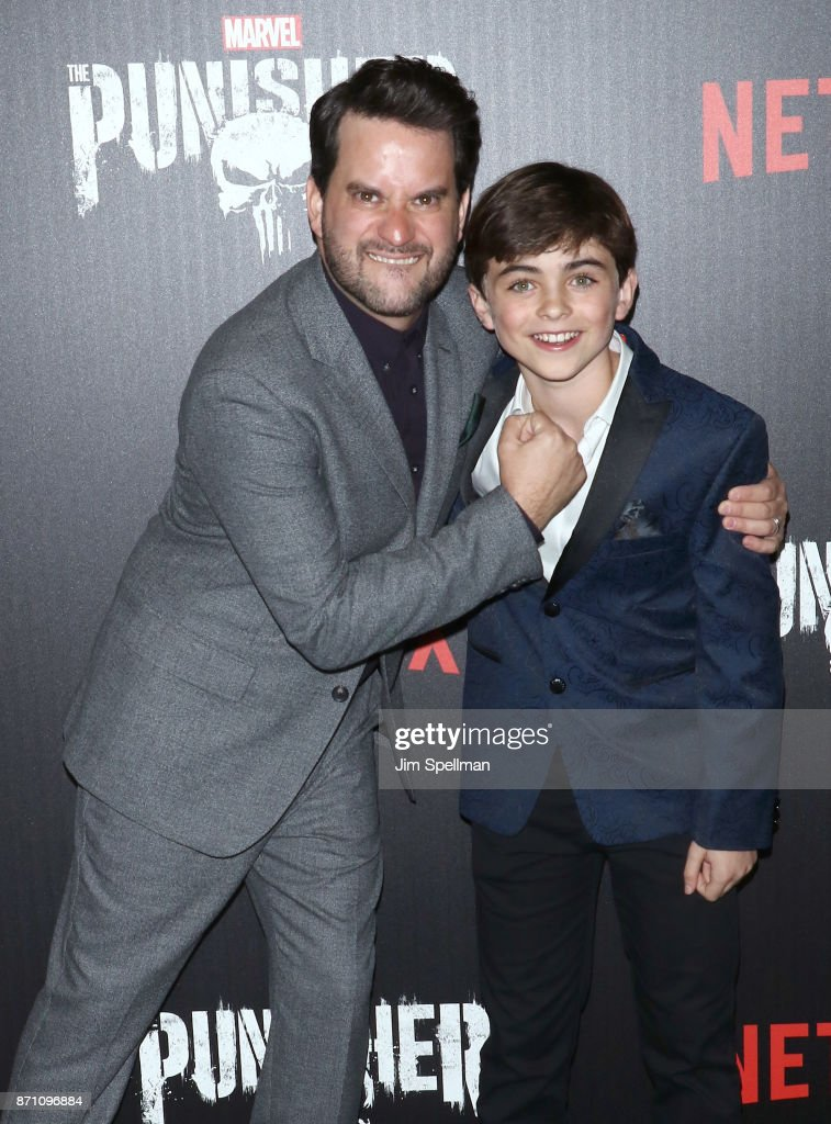 Actors Michael Nathanson (L) and Aidan Pierce Brennan attend the 'Marvel's The Punisher' New York premiere at AMC Loews 34th Street 14 theater on November 6, 2017 in New York City.