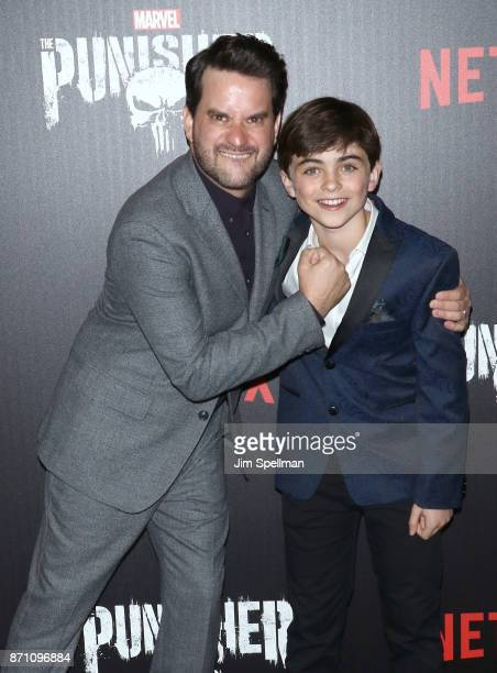 Actors Michael Nathanson and Aidan Pierce Brennan attend the 'Marvel's The Punisher' New York premiere at AMC Loews 34th Street 14 theater on...