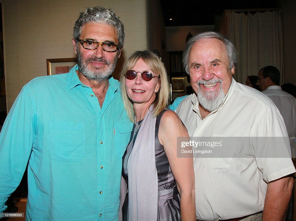 Actors Michael Nouri and Jennifer Edwards and producer George Schlatter attend Blake Edwards' art exhibit preview at Leslie Sacks Fine Art on June 5, 2010 in Brentwood, California.