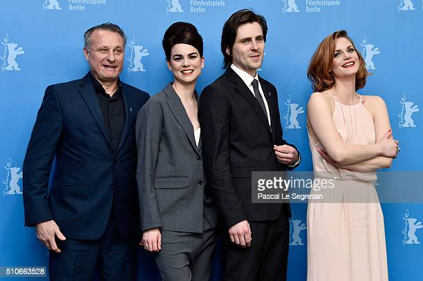 Actors Michael Nyqvist Karin Franz Korlof Sverrir Gudnason and Liv Mjones attend the 'A Serious Game' photo call during the 66th Berlinale...