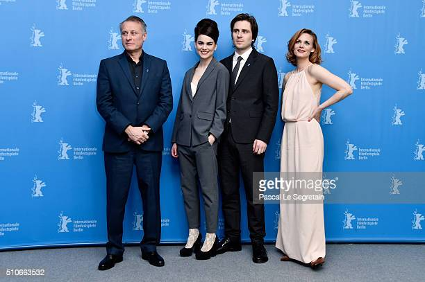 Actors Michael Nyqvist Karin Franz Korlof Sverrir Gudnason and Liv Mjones attend the 'A Serious Game' photo call during the 66th Berlinale...