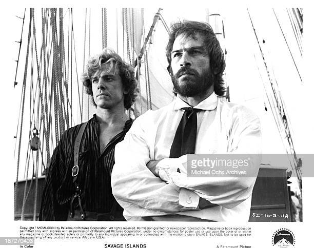Actors Michael O'Keefe and Tommy Lee Jones on set of the Paramount Pictures movie Savage Islands in 1983