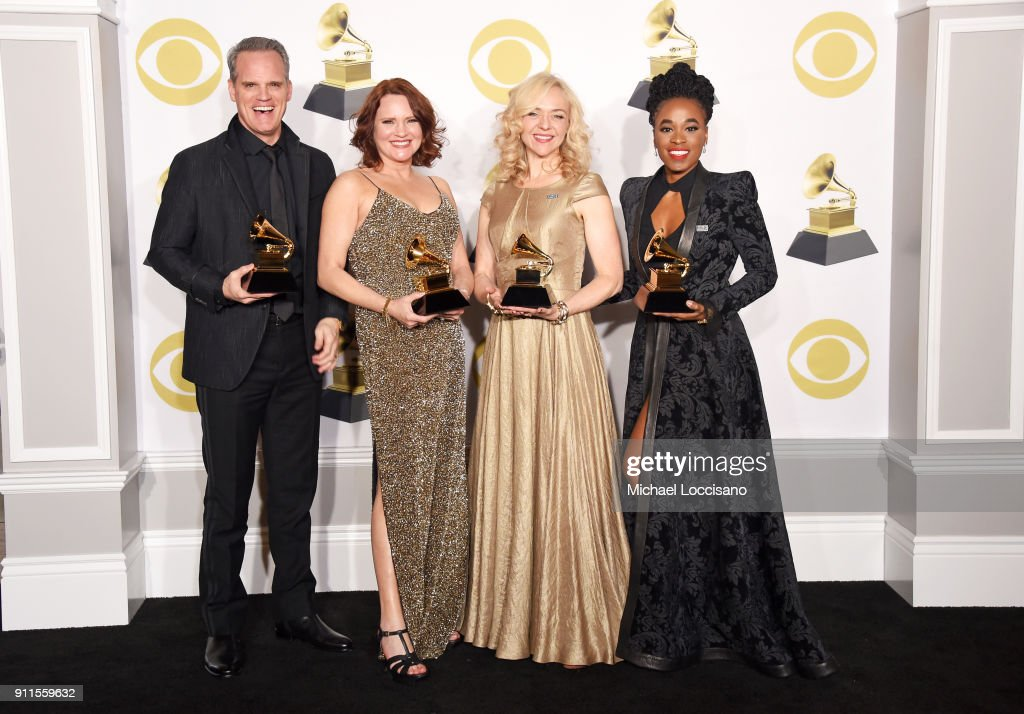 Actors Michael Park, Jennifer Laura Thompson, Rachel Bay Jones, and Kristolyn Lloyd, winners of the Best Musical Theater Album award for 'Dear Evan Hansen,' poses in the press room during the 60th Annual GRAMMY Awards at Madison Square Garden on January 28, 2018 in New York City.