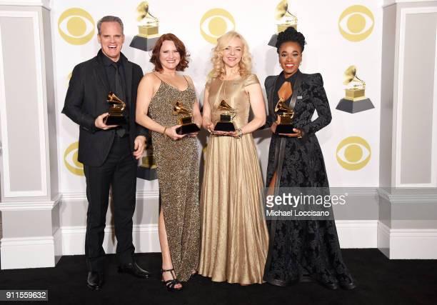 Actors Michael Park Jennifer Laura Thompson Rachel Bay Jones and Kristolyn Lloyd winners of the Best Musical Theater Album award for 'Dear Evan...