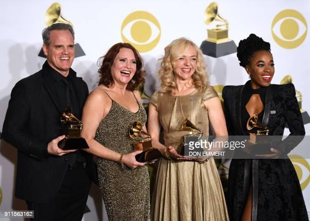 TOPSHOT Actors Michael Park Jennifer Laura Thompson Rachel Bay Jones and Kristolyn Lloyd winners of the Best Musical Theater Album award for 'Dear...