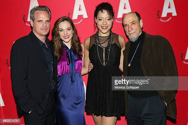 Actors Michael Park Laura Osnes Lilli Cooper and F Murray Abraham attend The Threepenny Opera Opening Night After Party at PHD Rooftop Lounge at...