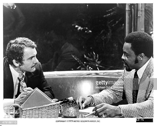 Actors Michael Pataki and Roger E Mosley in a scene from the MGM movie Sweet Jesus Preacherman circa 1973