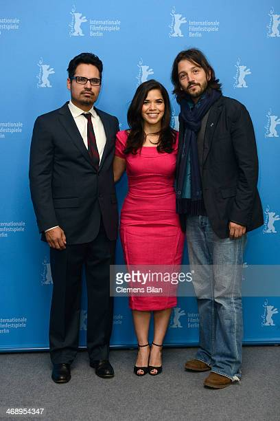 Actors Michael Pena and America Ferrera and director Diego Luna attend the 'Cesar Chavez' photocall during 64th Berlinale International Film Festival...