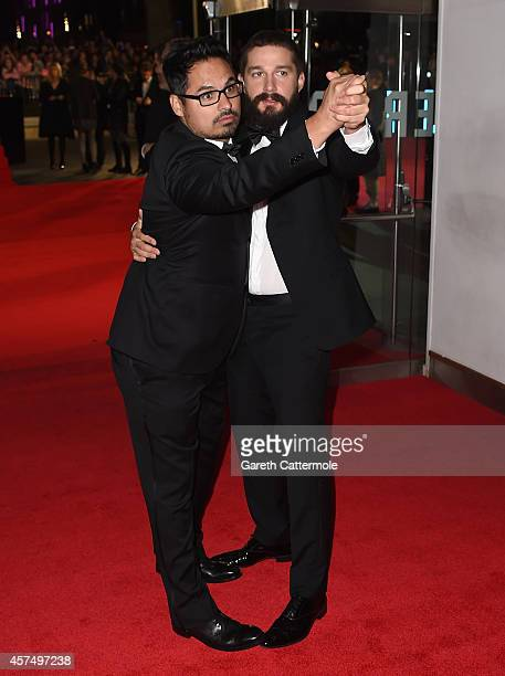 Actors Michael Pena and Shia LeBeouf attend the closing night European Premiere gala red carpet arrivals for 'Fury' during the 58th BFI London Film...
