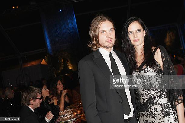 Actors Michael Pitt and Eva Green attend the dinner for amfAR's second annual Cinema Against AIDS Rome at the Galleria Borghese on October 24, 2008...