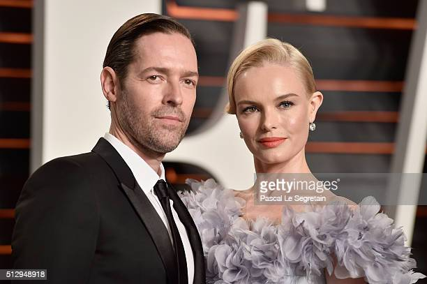 Actors Michael Polish and Kate Bosworth attend the 2016 Vanity Fair Oscar Party Hosted By Graydon Carter at the Wallis Annenberg Center for the...