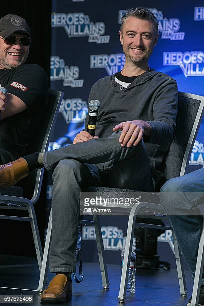 Actors Michael Rooker and Sean Gunn attend the Guardians of the Galaxy panel during Heroes and Villains Fan Fest at San Jose Convention Center on...