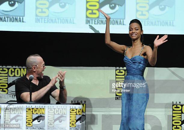 """Actors Michael Rooker and Zoe Saldana speak onstage at Marvel Studios """"Guardians of the Galaxy"""" during Comic-Con International 2013 at San Diego..."""