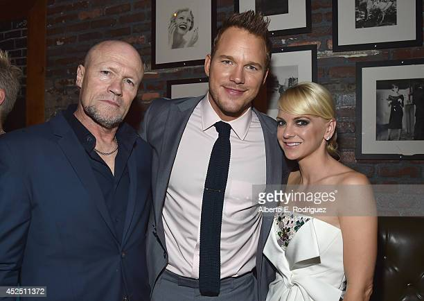 """Actors Michael Rooker Chris Pratt and Anna Faris attend the after party for The World Premiere of Marvel's epic space adventure """"Guardians of the..."""